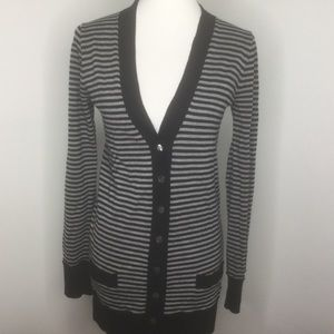 JCrew striped wool long cardigan SZ M